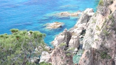 Cliffs of the Costa Brava in Girona, Spain Stock Footage