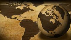 Vintage Rotating Globe And Map Of The World Background Stock Footage