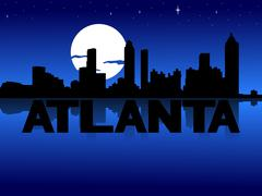 Atlanta skyline reflected with text and moon illustration Piirros