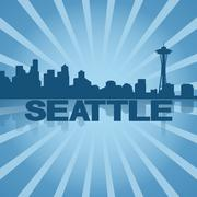 seattle skyline reflected with blue sunburst illustration - stock illustration