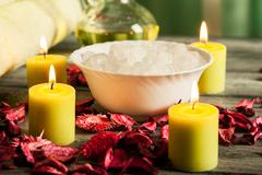spa still life: aromatherapy candle and bath products - stock photo