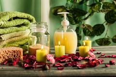 Spa still life: aromatherapy candle and bath products Stock Photos