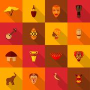 Africa icons set flat - stock illustration
