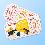 Stock Illustration of Action movie tickets set