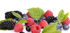 Details photo of assorted fresh berries full antioxidants isolated on a white Stock Photos