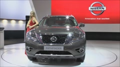 European premiere of the NISSAN PATHFINDER at the Moscow International Motor Sho Stock Footage