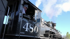 Durango Colorado vintage steam engine engineer 4K 271 Stock Footage