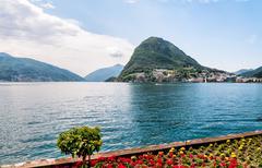 Lugano, view of the gulf from the botanical garden - stock photo