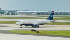 US Airways Express Jet at Atlanta International Airport Stock Footage