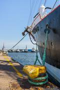 moored tall ship keel - stock photo