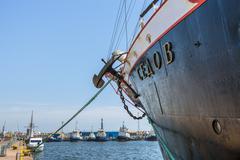 tall ship keel detail - stock photo