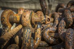 rusted chains and rigs - stock photo