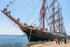 Anchored tall ship Stock Photos