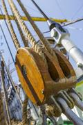marine ropes and rigging - stock photo