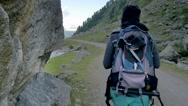 Stock Video Footage of Woman trekking in mountain