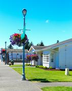 Stock Photo of american architecture. historical street in steilacoom town.