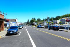 main street in historical town steilacoom. - stock photo