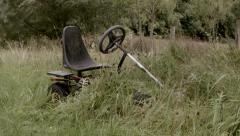Childs Gocart Neglected & Overgrown Stock Footage