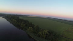 Beautiful  sunrise  with lake and fields .Aerial  landscape - stock footage