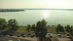 The road along the waterfront aerial view Stock Footage