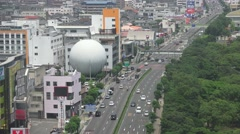 Sphere Building Next To Highway In Beppu Japan Aerial Shot 4K Stock Footage