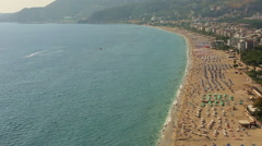 Crowd spending time at cleopatra beach aerial Stock Footage