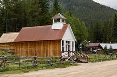 rebuilt town hall in ghost town of st elmo - stock photo