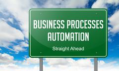 Stock Illustration of Business Processes Automation on Highway Signpost.