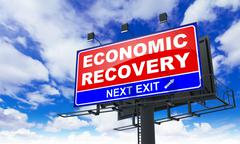 Economic Recovery on Red Billboard. Stock Illustration
