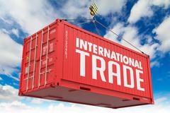 Stock Illustration of International Trade on Red Container.