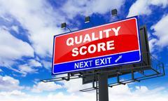 Quality Score on Red Billboard. - stock illustration