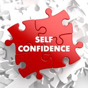 Self Confidence on Red Puzzle. - stock illustration