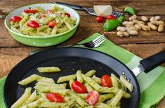 fresh italien pasta with basil - stock photo