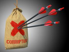 Corruption - Arrows Hit in Red Target. Stock Illustration