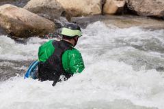 Expert kayaker in white water buena vista Stock Photos