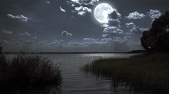 Full moon night landscape with forest lake. Stock Footage