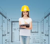 smiling little girl in hardhat with clipboard - stock illustration