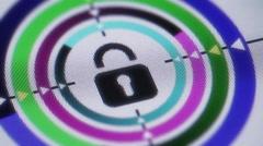 Lock icon on screen. Looping. Stock Footage