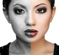 Face of beautiful young woman before and after retouch - stock photo