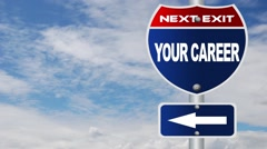 Your career road sign with flowing clouds Stock Footage