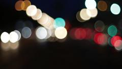 car lights at night out of focus in the capital city - stock footage