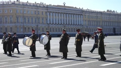 Military band preparing to Victory day parade, St. Petersburg Stock Footage