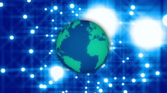 Abstract loop motion background, globe and blue light Stock Footage