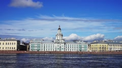 Granite Neva river quay with Kunstkamera at the distance Stock Footage