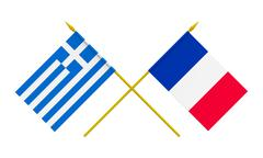 flags, france and greece - stock illustration
