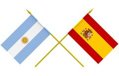 flags, argentina and spain - stock illustration