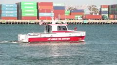 LAFD Fireboat 3 patrols the Port of Los Angeles Stock Footage