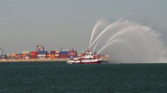 LAFD Fireboat 2 Spraying Water Stock Footage