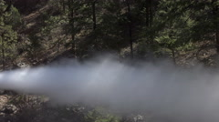 Historic coal engine train discharge steam forest 4K 127 Stock Footage