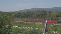Desolate, industrial, railroad landscape 4K [panning shot] [Fallout] Stock Footage
